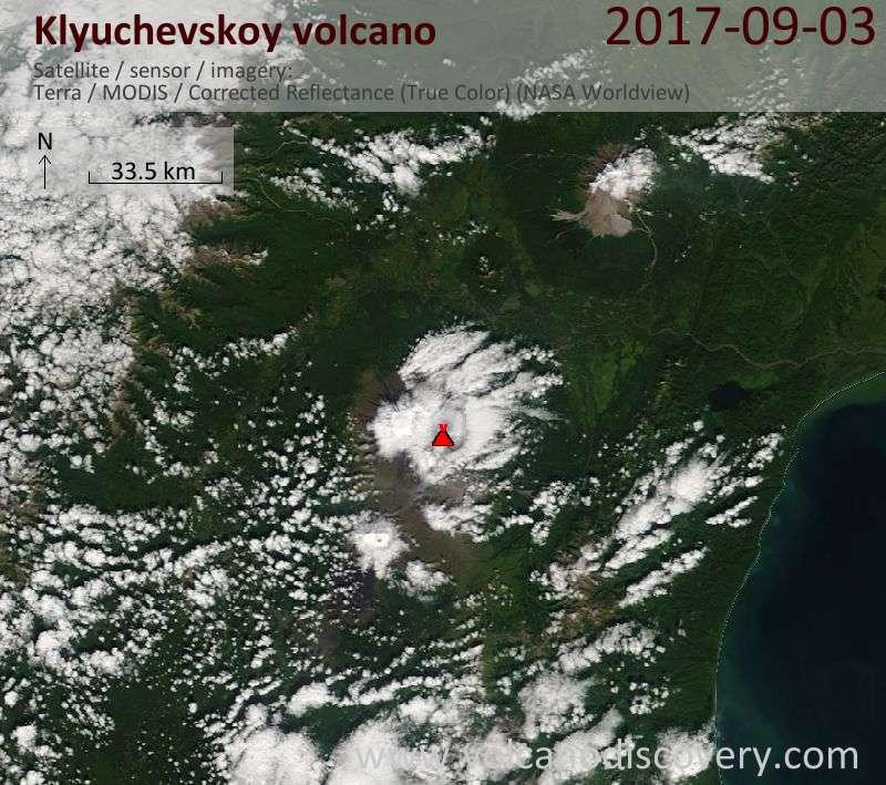Satellite image of Klyuchevskoy volcano on  3 Sep 2017