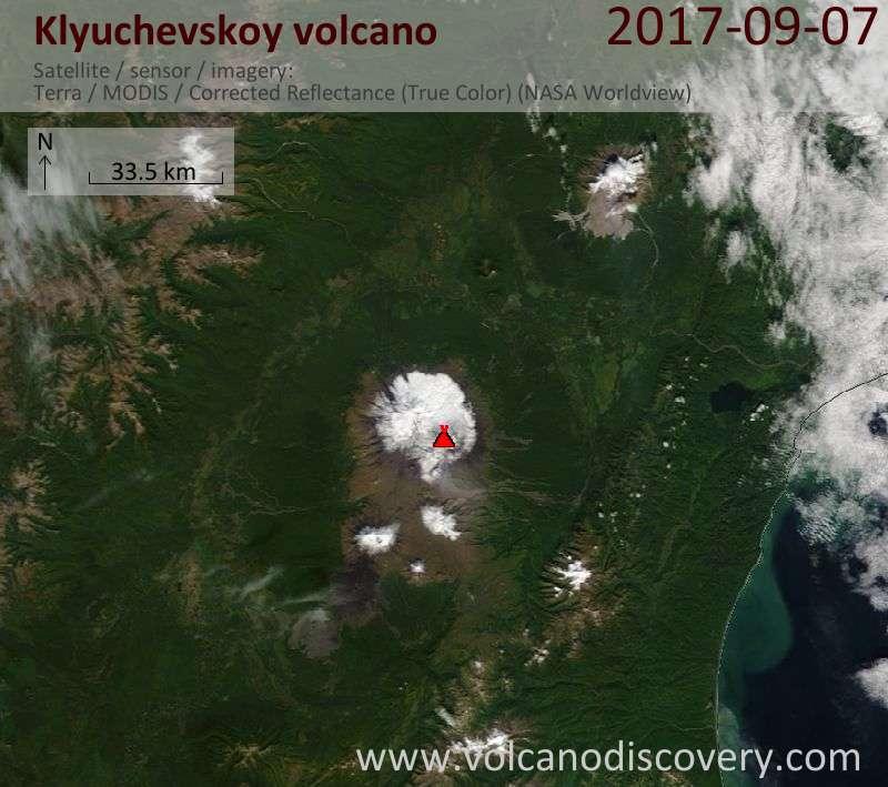 Satellite image of Klyuchevskoy volcano on  7 Sep 2017