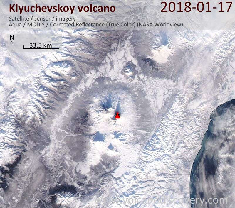 Satellite image of Klyuchevskoy volcano on 17 Jan 2018