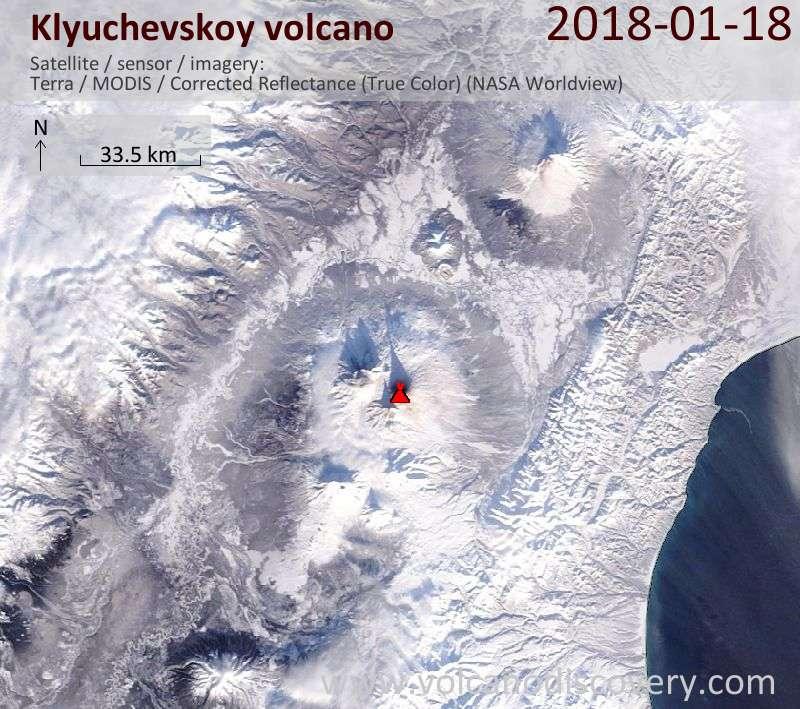 Satellite image of Klyuchevskoy volcano on 18 Jan 2018