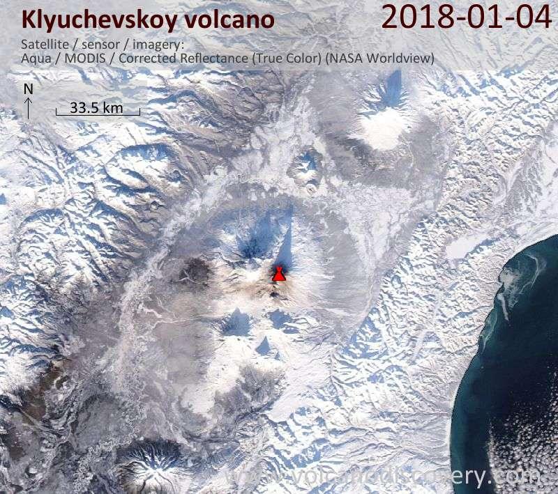Satellite image of Klyuchevskoy volcano on  4 Jan 2018