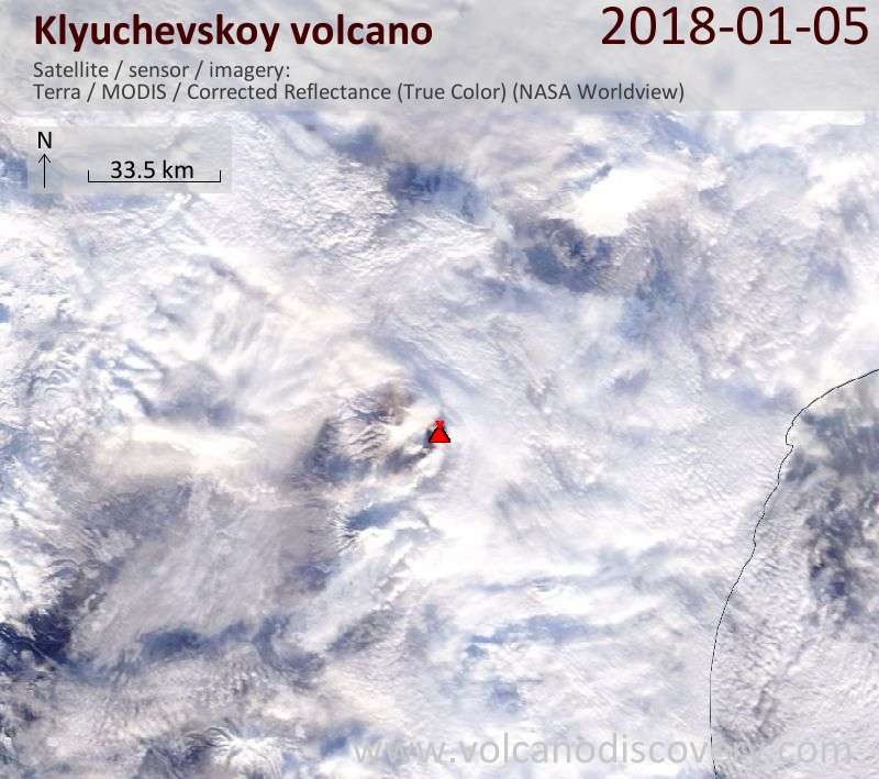 Satellite image of Klyuchevskoy volcano on  5 Jan 2018