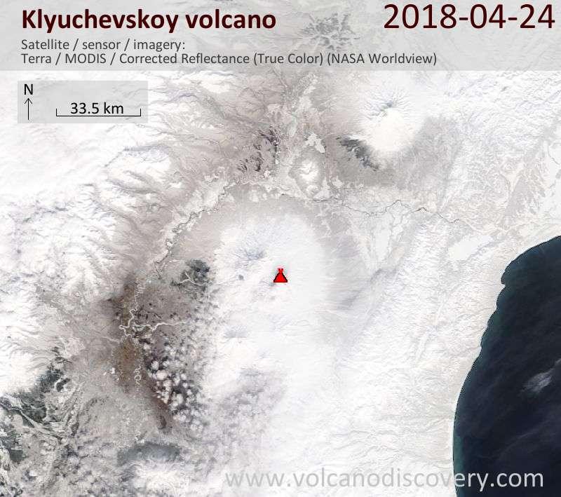 Satellite image of Klyuchevskoy volcano on 24 Apr 2018