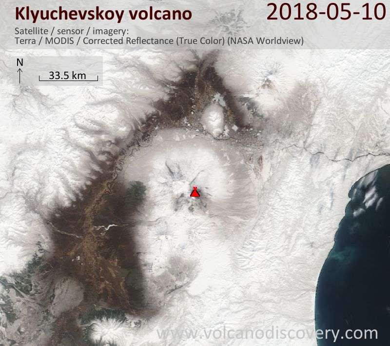 Satellite image of Klyuchevskoy volcano on 10 May 2018