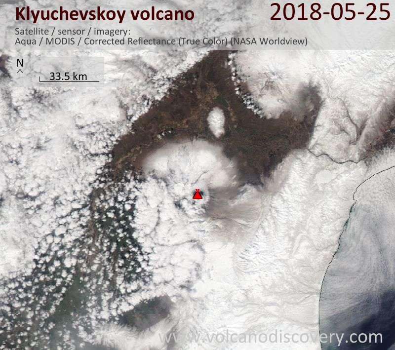 Satellite image of Klyuchevskoy volcano on 25 May 2018