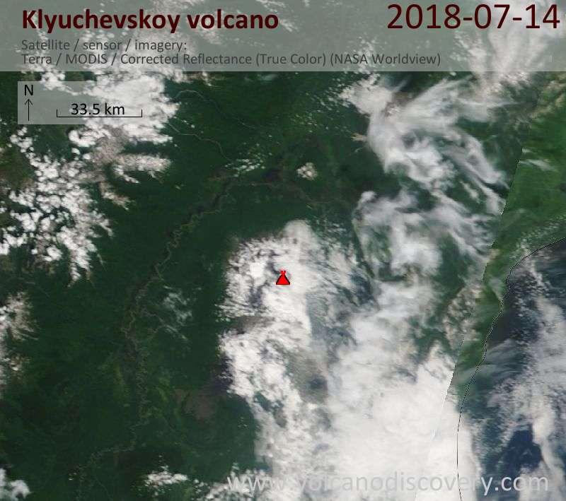 Satellite image of Klyuchevskoy volcano on 14 Jul 2018