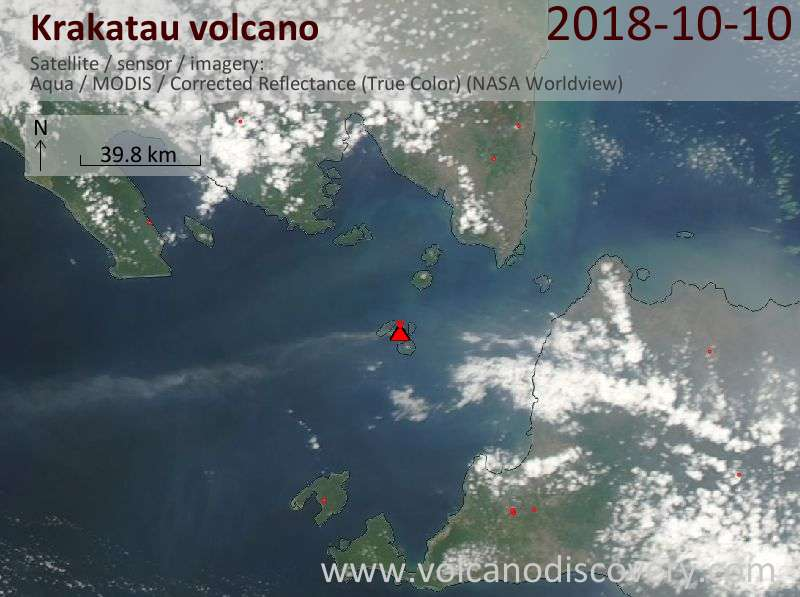 Satellite image of Krakatau volcano on 10 Oct 2018