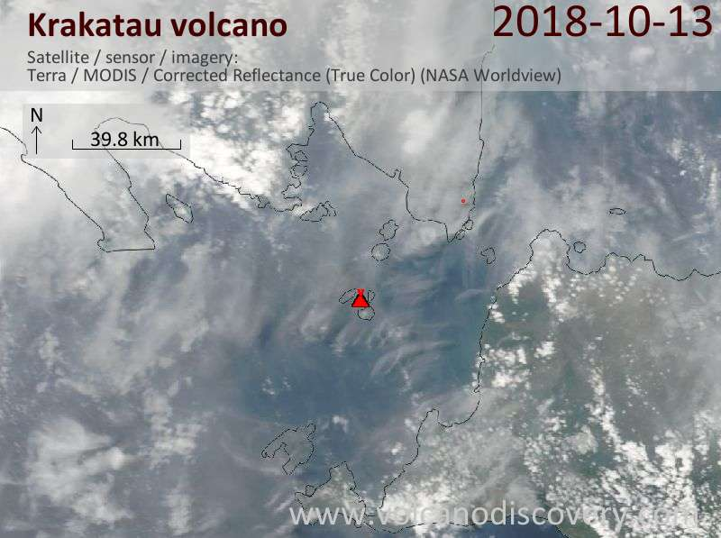 Satellite image of Krakatau volcano on 13 Oct 2018