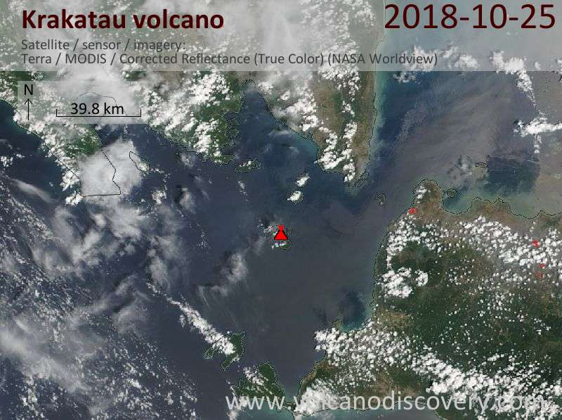 Satellite image of Krakatau volcano on 25 Oct 2018