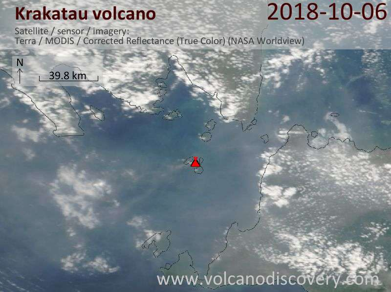 Satellite image of Krakatau volcano on  6 Oct 2018