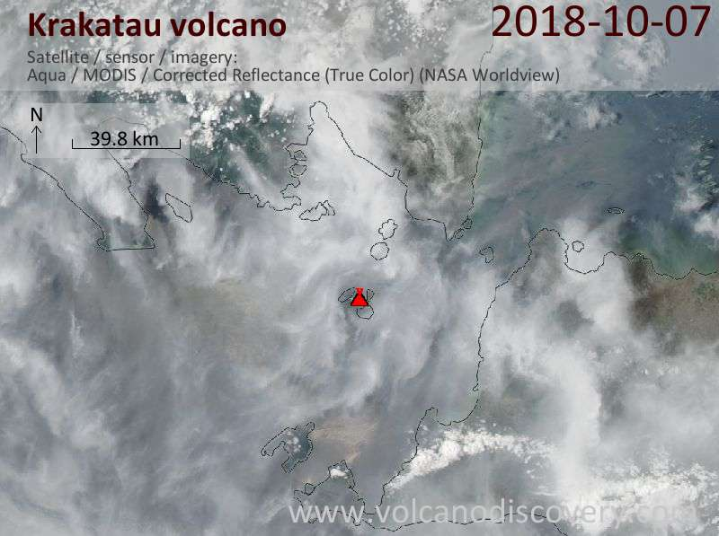 Satellite image of Krakatau volcano on  7 Oct 2018