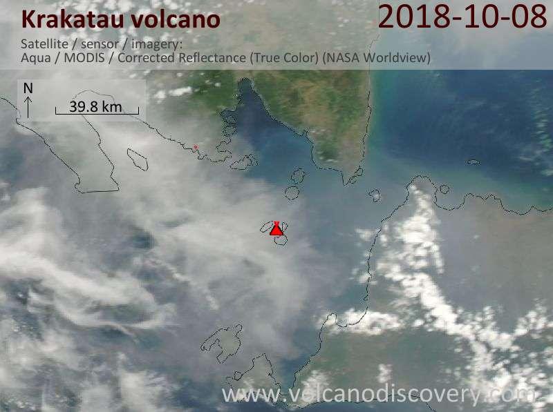 Satellite image of Krakatau volcano on  8 Oct 2018