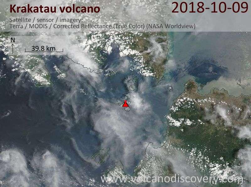 Satellite image of Krakatau volcano on  9 Oct 2018