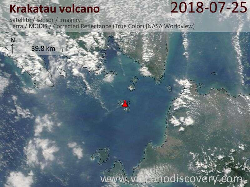 Satellite image of Krakatau volcano on 25 Jul 2018