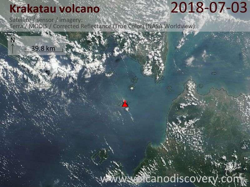 Satellite image of Krakatau volcano on  3 Jul 2018