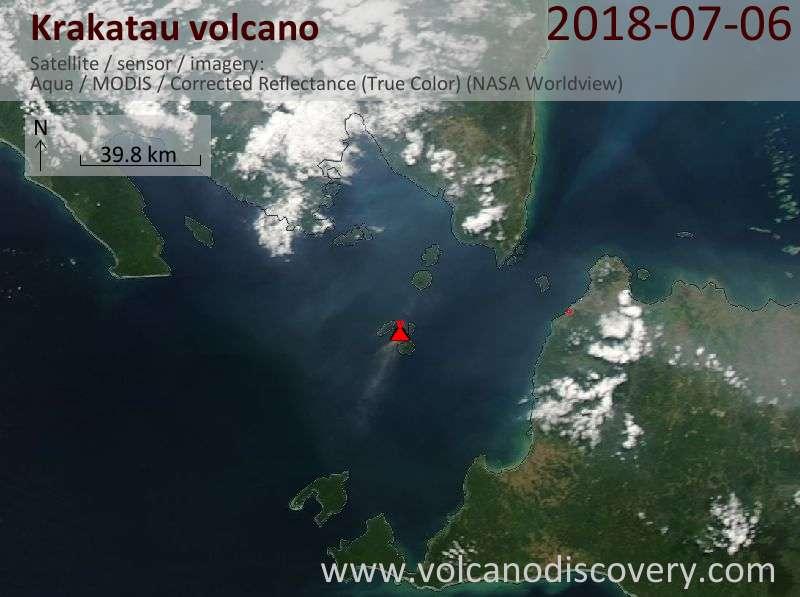 Satellite image of Krakatau volcano on  6 Jul 2018