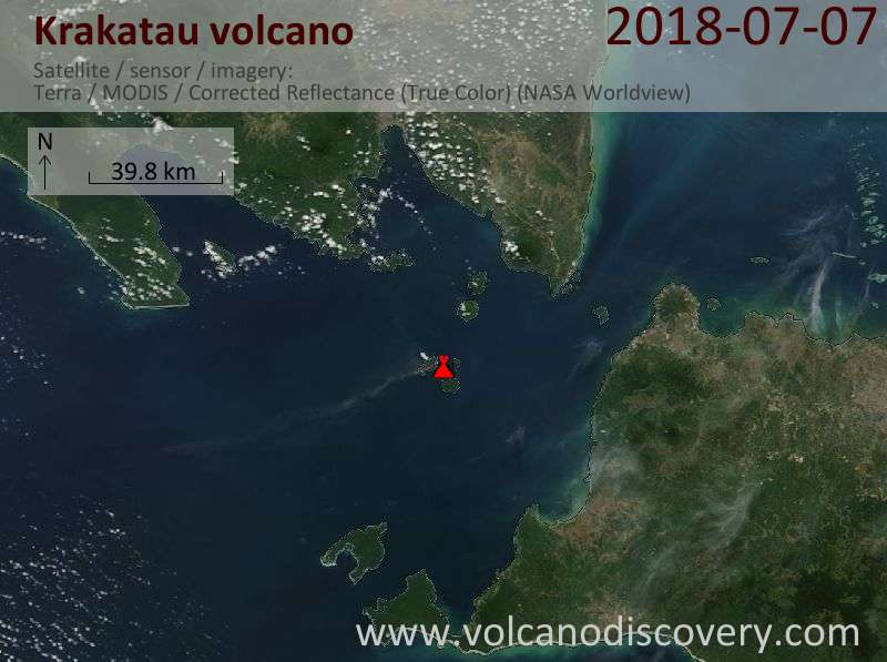 Satellite image of Krakatau volcano on  7 Jul 2018