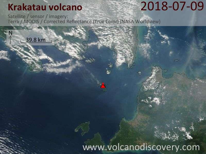 Satellite image of Krakatau volcano on  9 Jul 2018