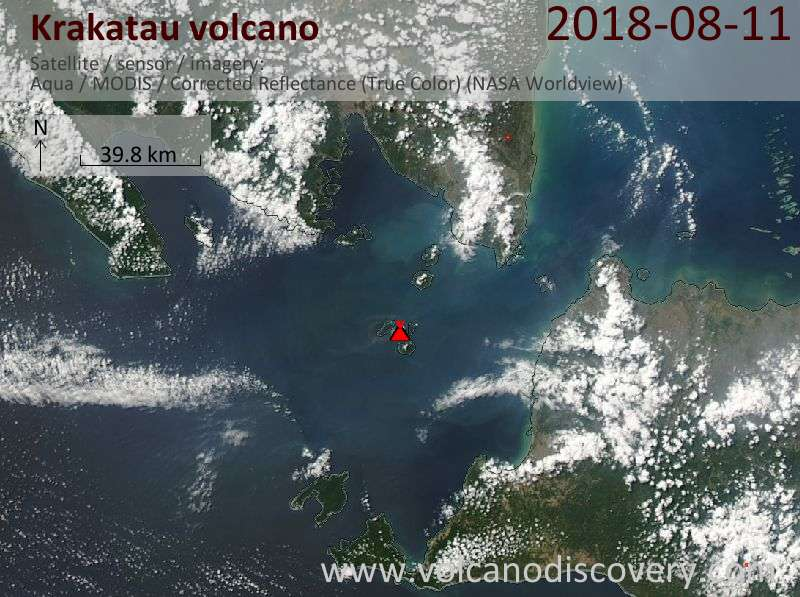 Satellite image of Krakatau volcano on 11 Aug 2018