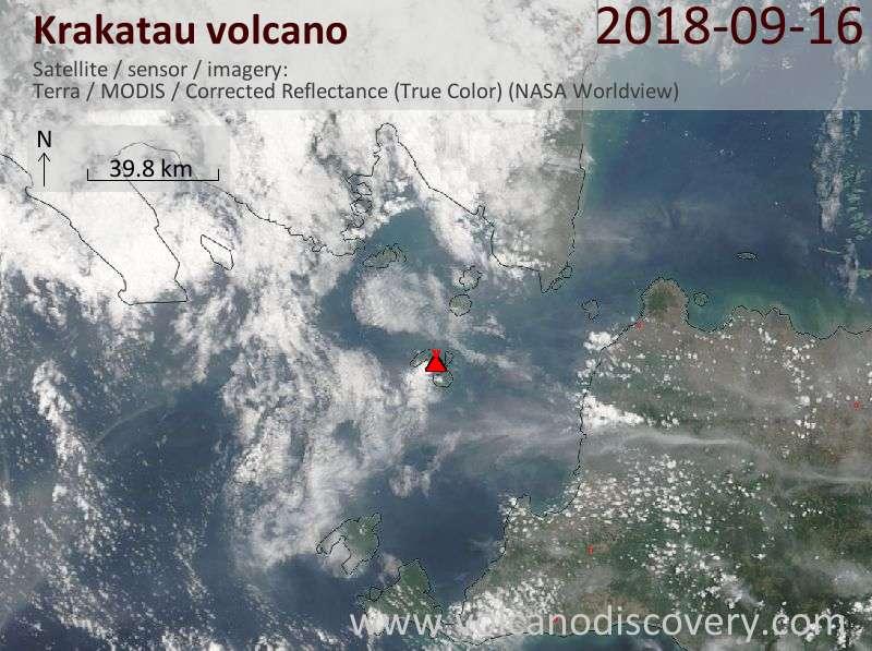 Satellite image of Krakatau volcano on 16 Sep 2018