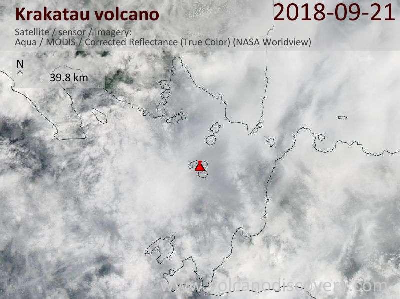 Satellite image of Krakatau volcano on 21 Sep 2018