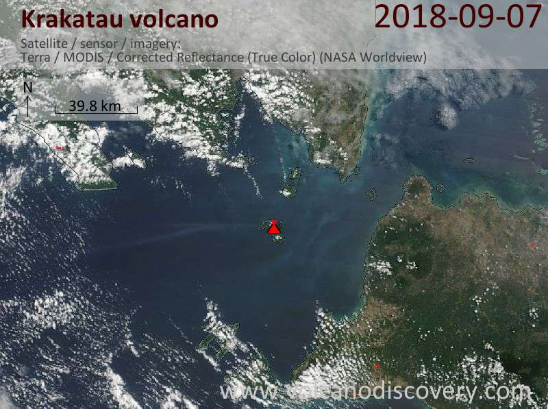 Satellite image of Krakatau volcano on  8 Sep 2018