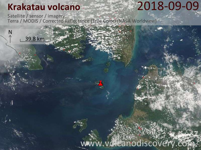 Satellite image of Krakatau volcano on  9 Sep 2018