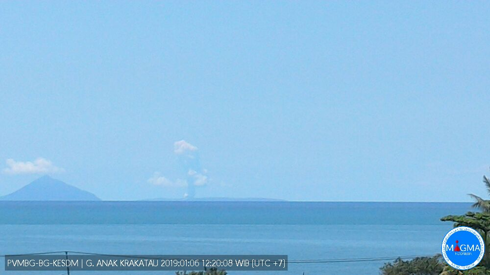 Steam plume rising from Anak Krakatau earlier today (image: PVMBG)