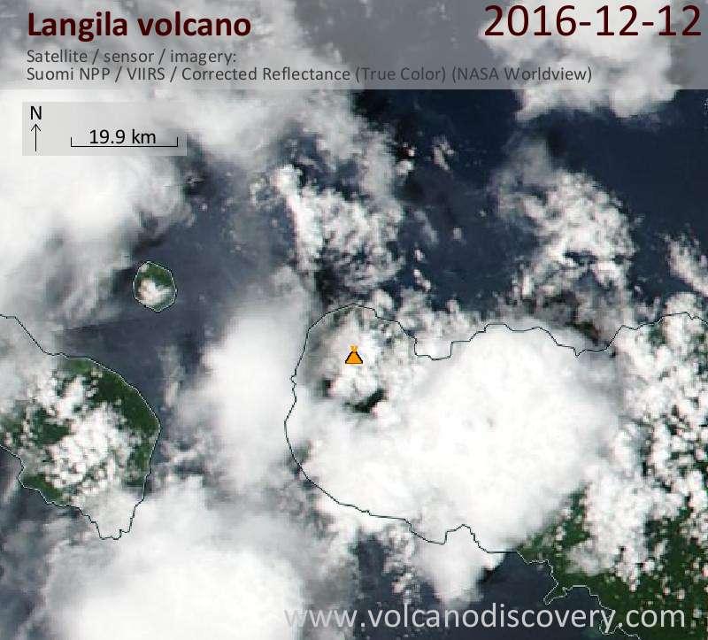 Satellite image of Langila volcano on 12 Dec 2016