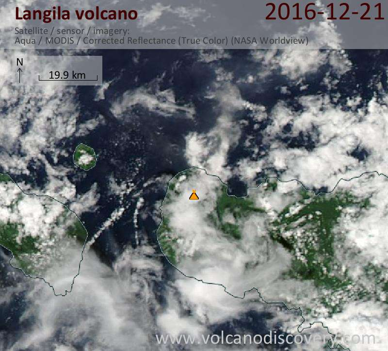 Satellite image of Langila volcano on 21 Dec 2016