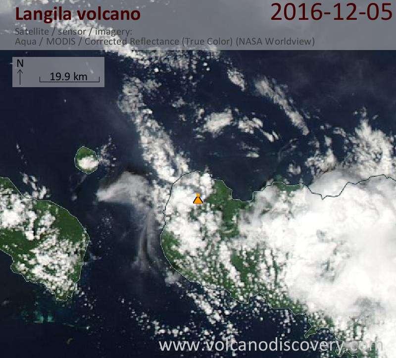 Satellite image of Langila volcano on  5 Dec 2016