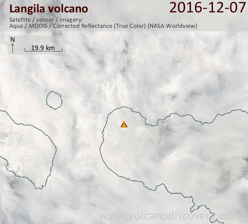Satellite image of Langila volcano on  7 Dec 2016