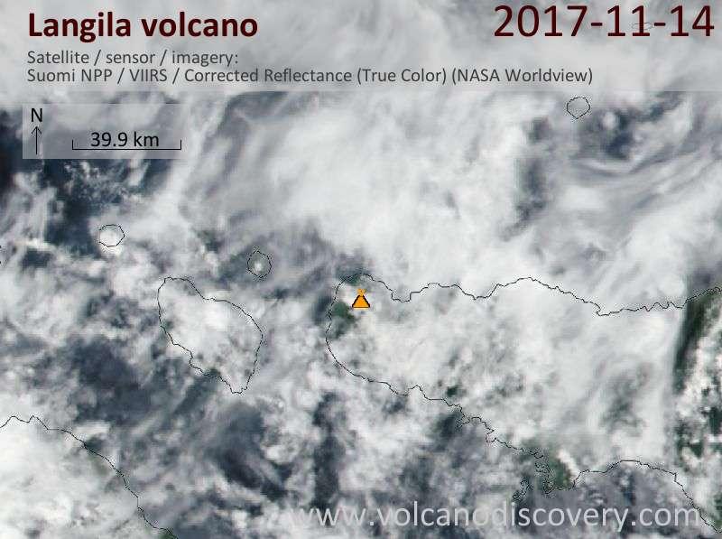 Satellite image of Langila volcano on 14 Nov 2017