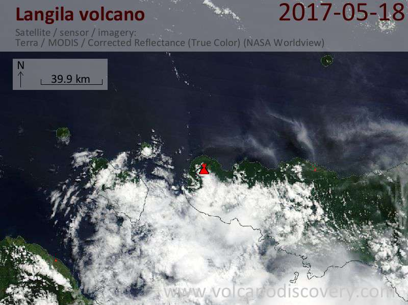Satellite image of Langila volcano on 18 May 2017