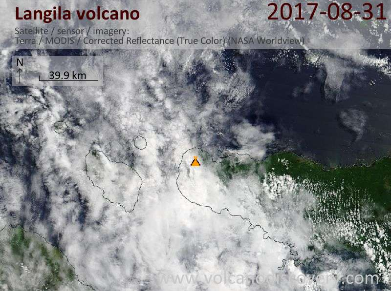 Satellite image of Langila volcano on 31 Aug 2017