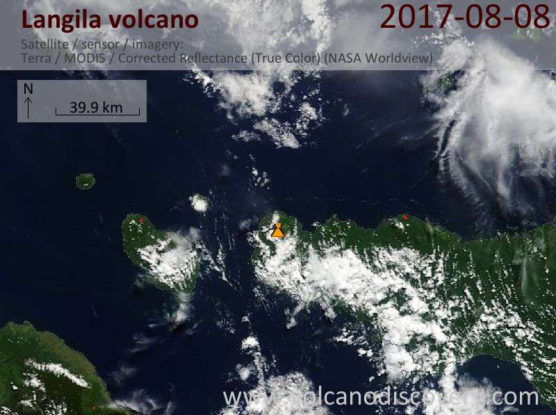 Satellite image of Langila volcano on  8 Aug 2017