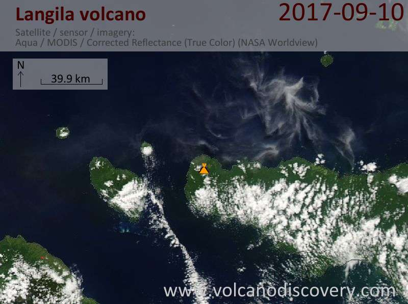 Satellite image of Langila volcano on 10 Sep 2017