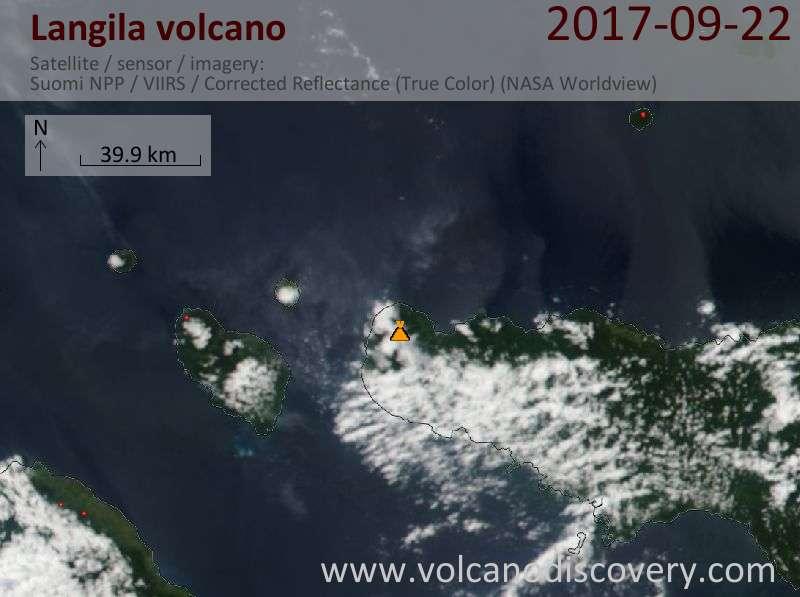Satellite image of Langila volcano on 22 Sep 2017