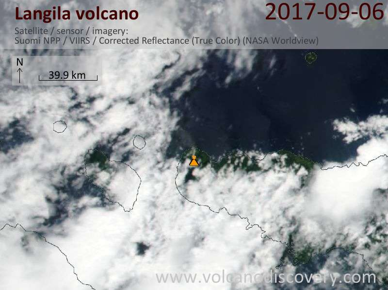 Satellite image of Langila volcano on  6 Sep 2017