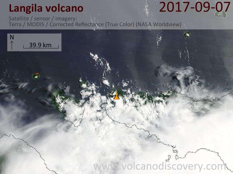 Satellite image of Langila volcano on  7 Sep 2017