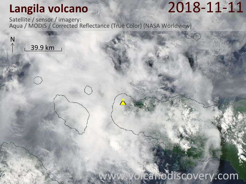 Satellite image of Langila volcano on 11 Nov 2018