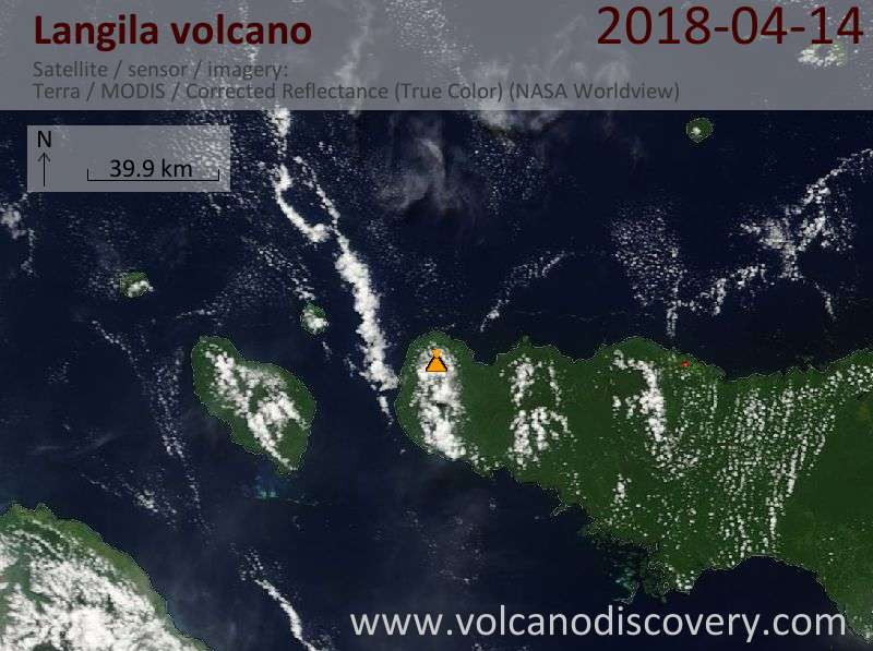Satellite image of Langila volcano on 14 Apr 2018