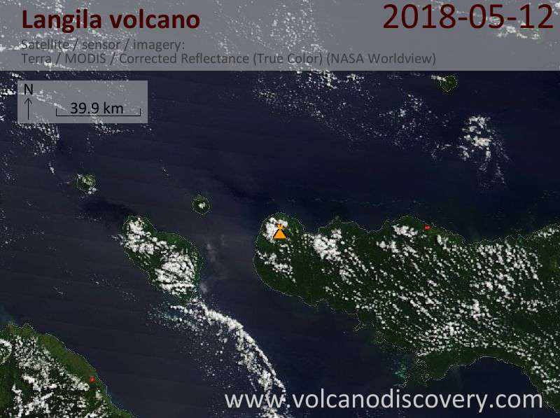 Satellite image of Langila volcano on 12 May 2018