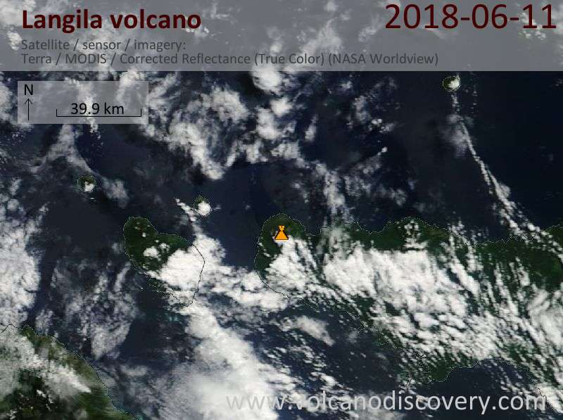 Satellite image of Langila volcano on 11 Jun 2018