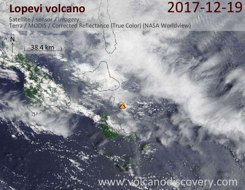 Satellite image of Lopevi volcano on 19 Dec 2017
