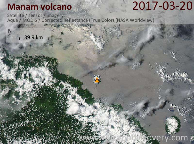 Satellite image of Manam volcano on 20 Mar 2017