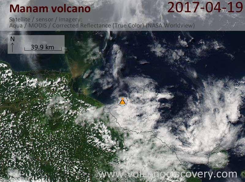 Satellite image of Manam volcano on 20 Apr 2017