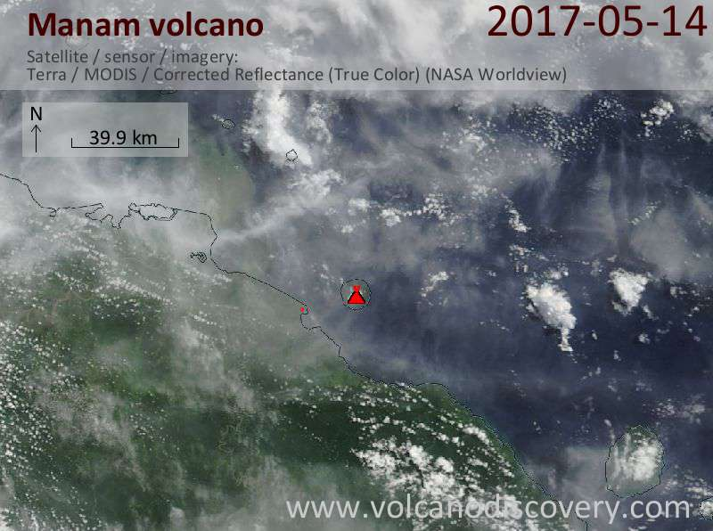 Satellite image of Manam volcano on 14 May 2017