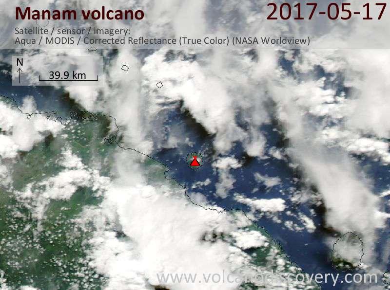 Satellite image of Manam volcano on 17 May 2017