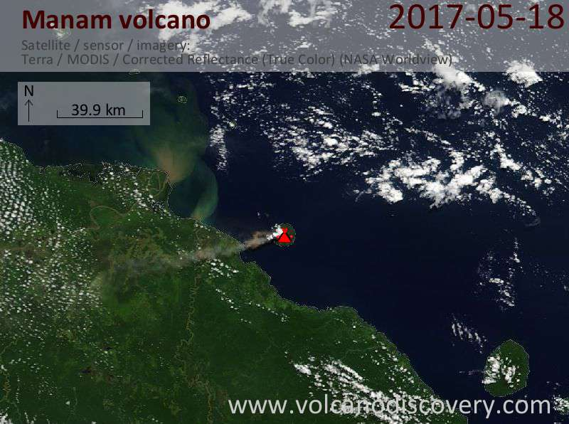 Satellite image of Manam volcano on 18 May 2017